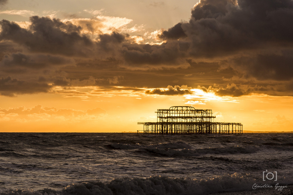 brighton west pier sunset