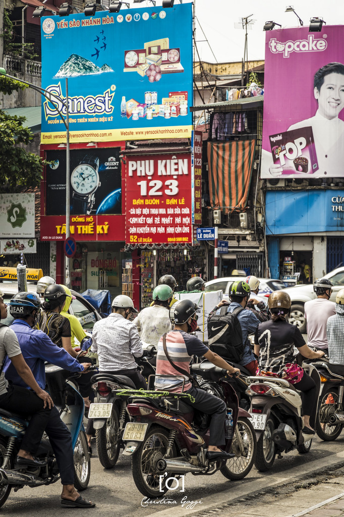 Motorcyclists in Hanoi, Vietnam
